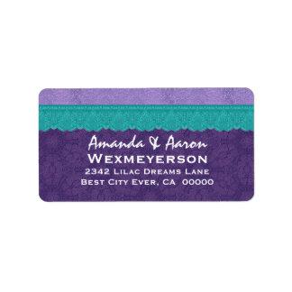 Boda púrpura del cordón del damasco y del trullo etiquetas de dirección