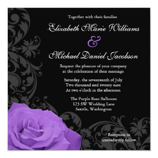 """Boda púrpura del Flourish del rosa Invitación 5.25"""" X 5.25"""""""