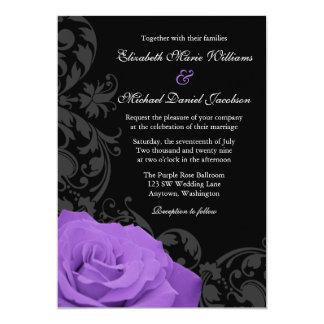 """Boda púrpura del Flourish del rosa Invitación 5"""" X 7"""""""
