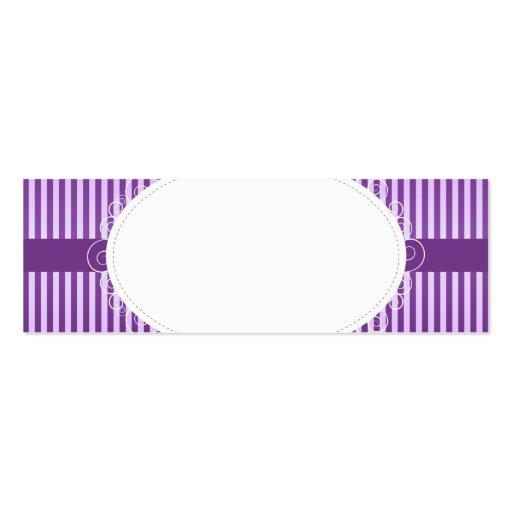 Boda púrpura del modelo de Stripey Tarjetas De Visita Mini