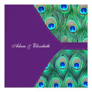 """Boda púrpura del pavo real del ciruelo invitación 5.25"""" x 5.25"""""""