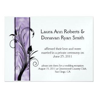 Boda púrpura del poste de la raya de 01 remolinos invitación 13,9 x 19,0 cm