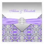 Boda púrpura elegante del cordón de la plata y de anuncio personalizado
