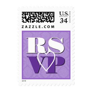 Boda púrpura en colores pastel del corazón de RSVP Sello