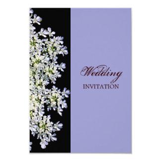"""boda púrpura floral blanco del vintage invitación 3.5"""" x 5"""""""