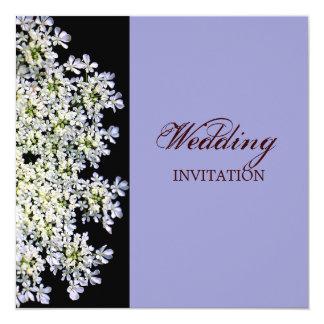 """boda púrpura floral blanco del vintage invitación 5.25"""" x 5.25"""""""