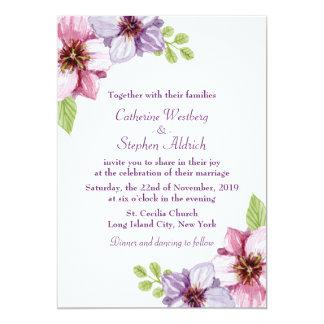 """Boda púrpura floral de la flor de la acuarela invitación 5"""" x 7"""""""