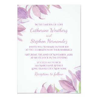"""Boda púrpura floral de la flor de la lavanda de la invitación 5"""" x 7"""""""