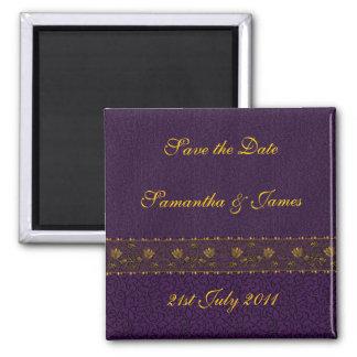 Boda púrpura rico imán cuadrado