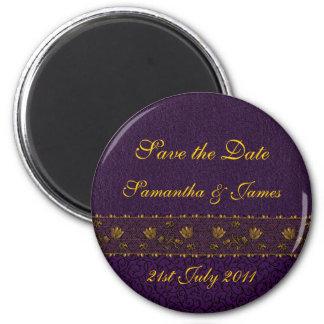 Boda púrpura rico imán redondo 5 cm