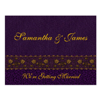 Boda púrpura rico tarjeta postal