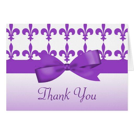 Boda púrpura y blanco de la flor de lis tarjeta pequeña