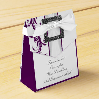 Boda púrpura y blanco llano del cordón del damasco caja para regalos