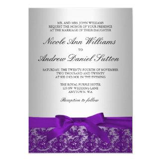 """Boda púrpura y de plata del cordón invitación 5"""" x 7"""""""