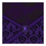 Boda púrpura y negro del cordón del gótico invitación personalizada