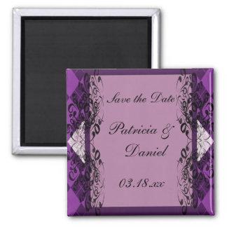 Boda púrpura y negro del cordón imán cuadrado