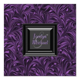 """Boda púrpura y negro elegante invitación 5.25"""" x 5.25"""""""