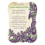 Boda púrpura y verde de Paisley del pavo real del Invitación 12,7 X 17,8 Cm