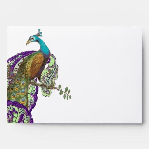 Boda púrpura y verde del pavo real del vintage sobre