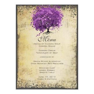 """Boda radiante del árbol de la hoja de Purple Heart Invitación 5.5"""" X 7.5"""""""