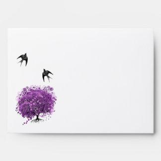Boda radiante del árbol de la hoja de Purple Heart Sobres