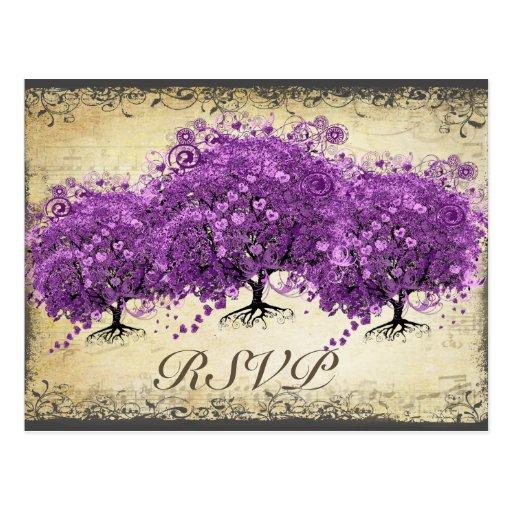 Boda radiante del árbol de la hoja de Purple Heart Tarjeta Postal