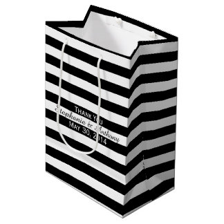 Boda rayado blanco y negro bolsa de regalo mediana