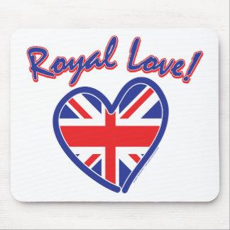 Boda real, amor real, corazón de Union Jack Tapete De Ratones