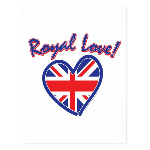 Boda real, amor real, corazón de Union Jack Tarjetas Postales
