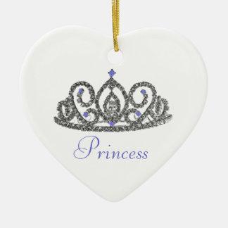 Boda real/princesa adorno navideño de cerámica en forma de corazón
