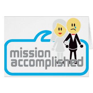 Boda realizada de la misión tarjeta de felicitación