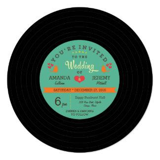 """Boda retro moderno del disco de vinilo invitación 5.25"""" x 5.25"""""""