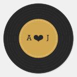 Boda retro moderno del disco de vinilo (oro/negro) pegatina redonda