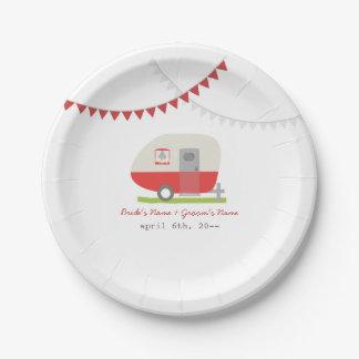 Boda retro rojo del remolque plato de papel de 7 pulgadas