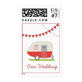 Boda retro rojo del remolque timbre postal