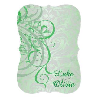 Boda rococó del verde del monograma del vintage invitaciones personalizada