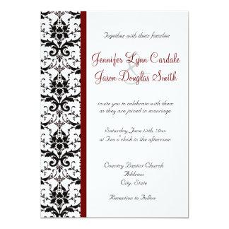 Boda rojo blanco de la raya del negro del damasco invitaciones personalizada