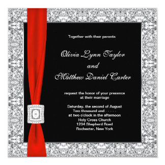 Boda rojo blanco negro del arco invitación 13,3 cm x 13,3cm
