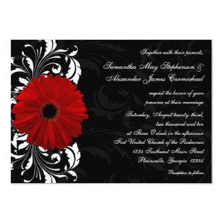 Boda rojo, blanco y negro de la margarita del anuncios personalizados