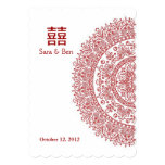 Boda rojo chino de la felicidad del doble de la invitación 12,7 x 17,8 cm