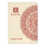 Boda rojo chino de la felicidad del doble de la po invitación personalizada