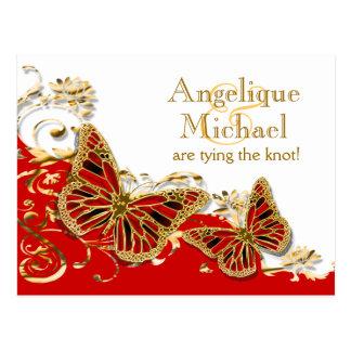 Boda rojo de la mariposa del oro blanco tarjetas postales