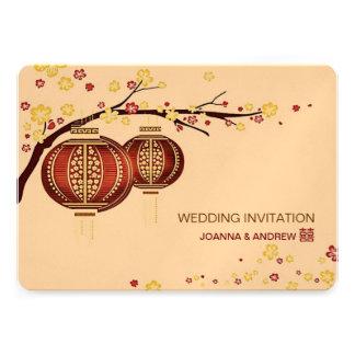 Boda rojo de oro del chino del cerezo XI de las li Invitaciones Personalizada
