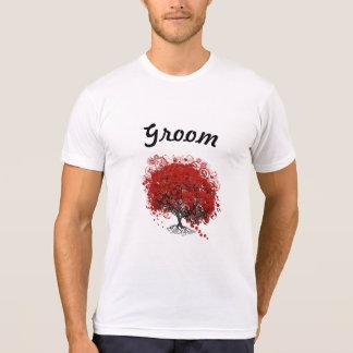 Boda rojo del árbol de la hoja del corazón camiseta