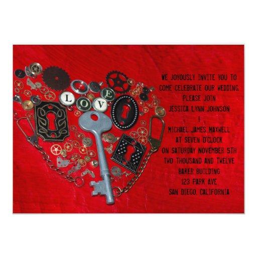 Boda rojo del corazón de Steampunk Invitación 13,9 X 19,0 Cm