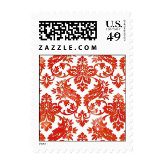 Boda rojo del damasco del vintage sello