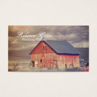 Boda rojo del granero de la granja rústica del tarjetas de visita