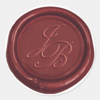 Boda rojo del sello de la cera del monograma pegatina redonda