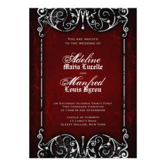 Boda rojo del Victorian gótico negro y blanco fan Comunicado Personal