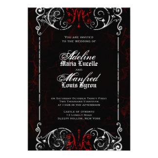 Boda rojo del Victorian gótico negro y blanco fan Anuncio Personalizado